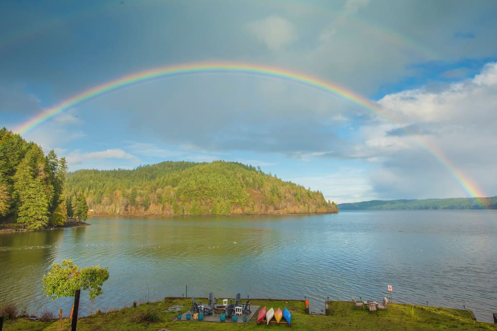One of the many rainbows that happen over Lilliwaup Bay.  Sometimes the day is filled with rainbow after rainbow.