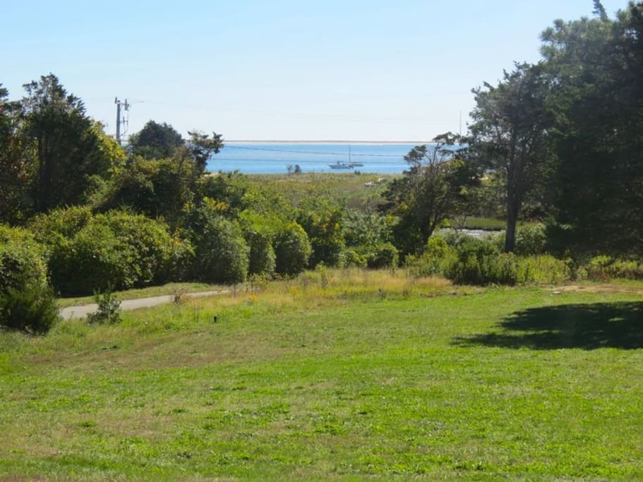 Large spacious yard overlooking Pleasant Bay. A perfect spot for outdoor family fun.