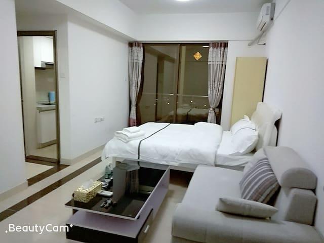 美丽舒适的欧雅风格42平米的1.5米大床房公寓,可住2人。