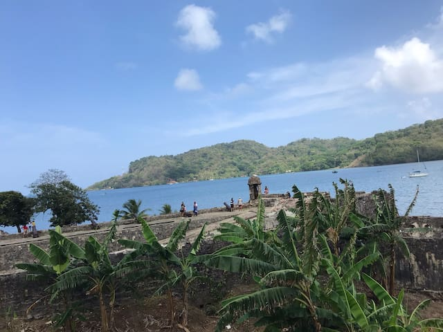 Portobelo bay from San Lorenzo fortress. This picture is not taken on our farm but you can do this as a day trip down the valley. Boat charter in the bay available. Visit one of the most beautiful beaches or explore the mangrove forests.