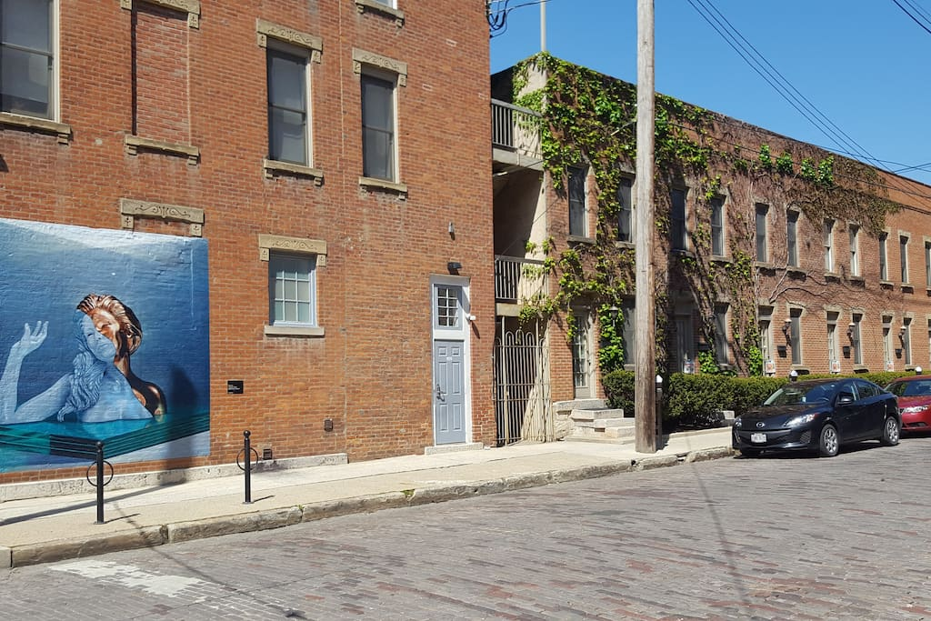 Cool new Short North artwork on the wall steps from your rental.