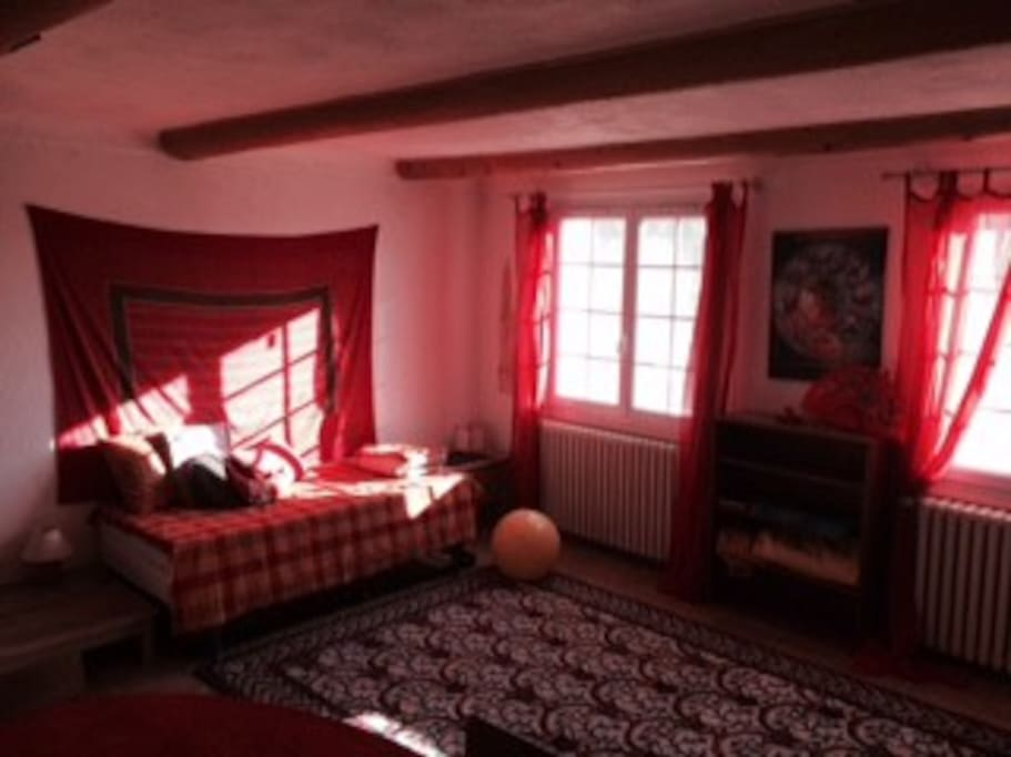 Salon ensoleillé exposé sud avec 2 lits