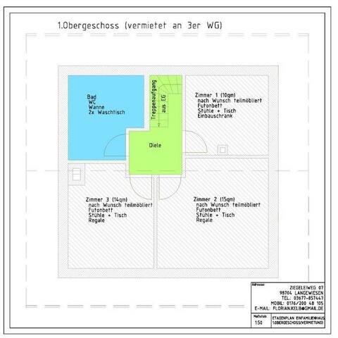 Doppelbett-Zimmer, 15qm nebst Gemeinschaftsräumen
