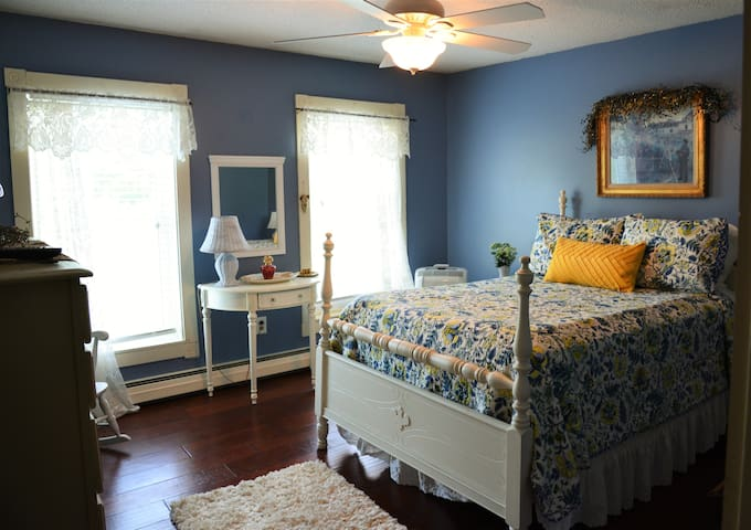 """The """"blue"""" guest bedroom with a queen bed and overview of the property."""