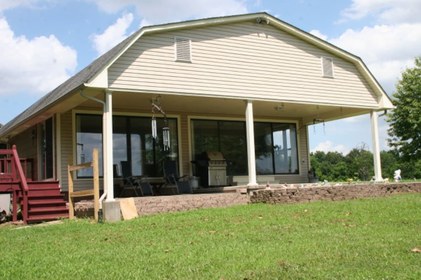 Front view of covered porch.