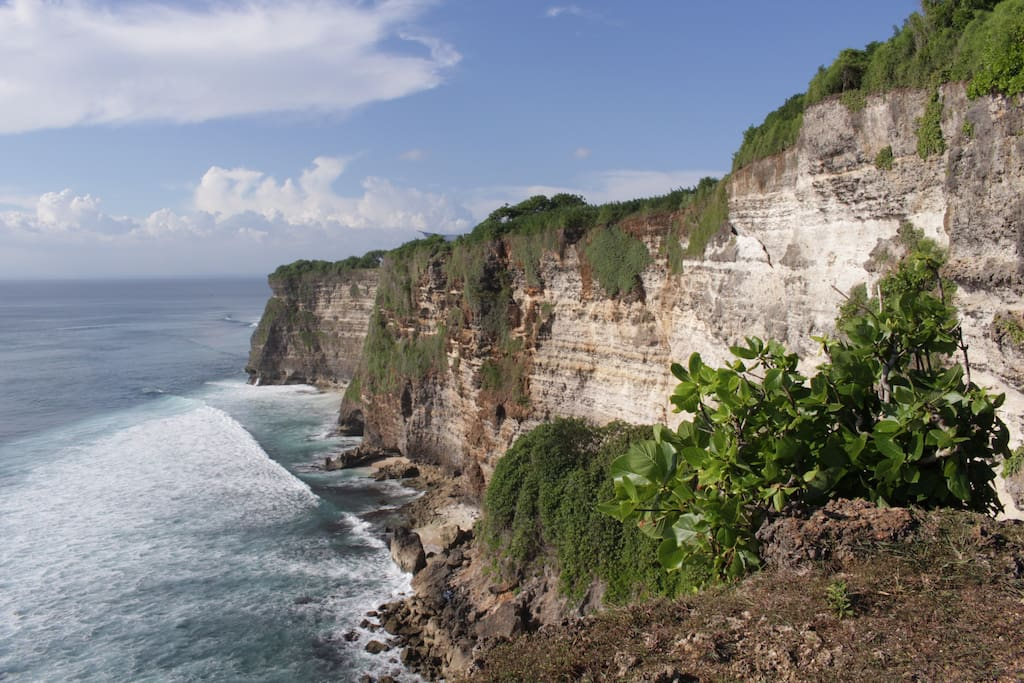 The limestone cliffs of Uluwatu are just 200 meters behind our cottages