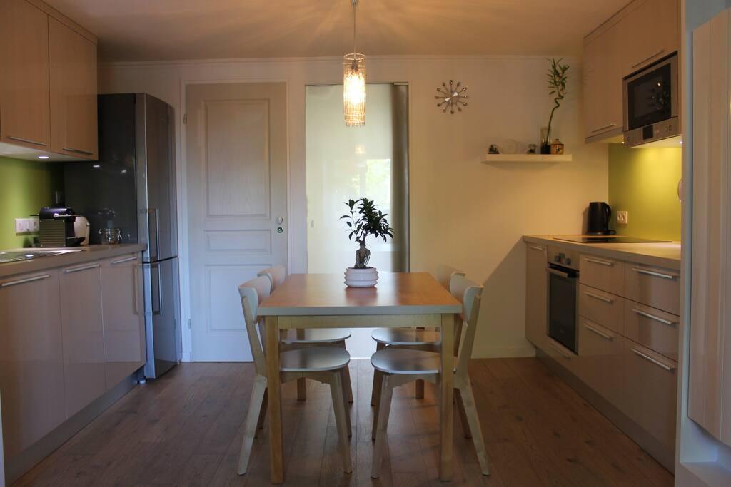 Cuisine-Salon séparé de la chambre par une porte coulissante opaque