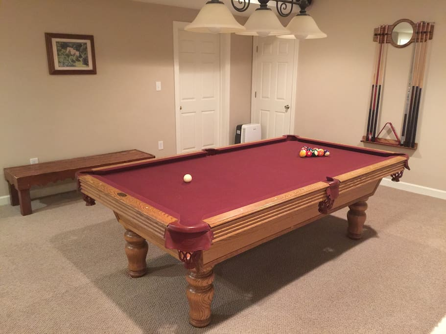 Another extra amenity most AirBnB places don't have for your stay. Professional grade marble 8' billiards table!