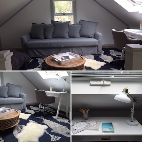 Beautiful airy loft space with sky lights, bean bag to lounge on, board games and a desk if you are working out of the beautiful North Fork!