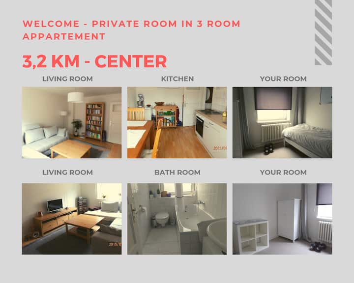 Private room (3,2km - Center. Near Geomar, FH)