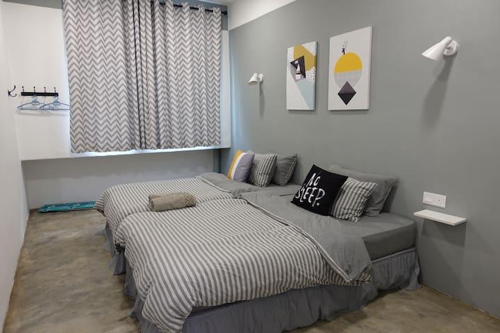 Room 3- 2 single beds