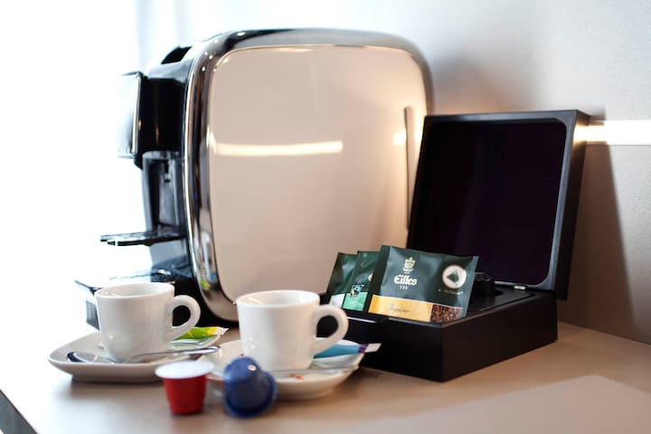 A coffee machine to enjoy a warm coffee during your stay