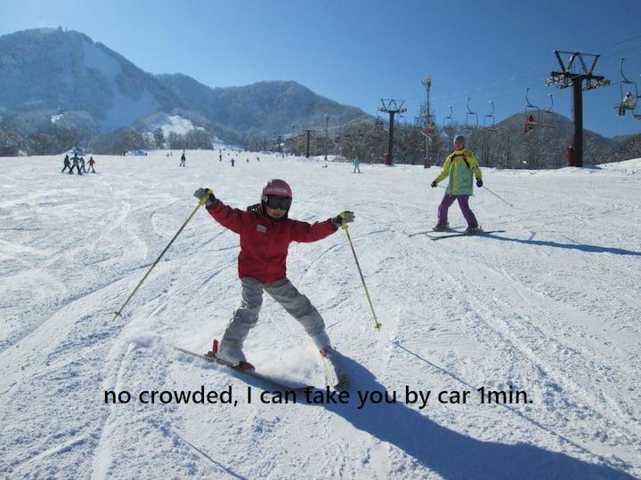Onsen & Skiing w/ Bfast & Dinner in Mountain BnB