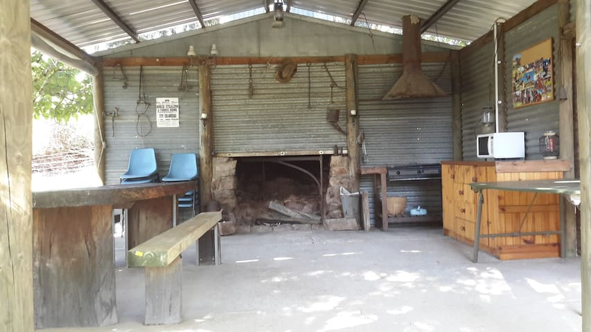 inside our rustic hut