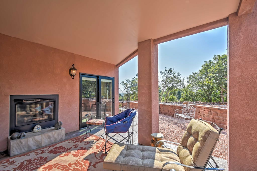 During winter, stay warm outside by huddling around the gas-burning fireplace.
