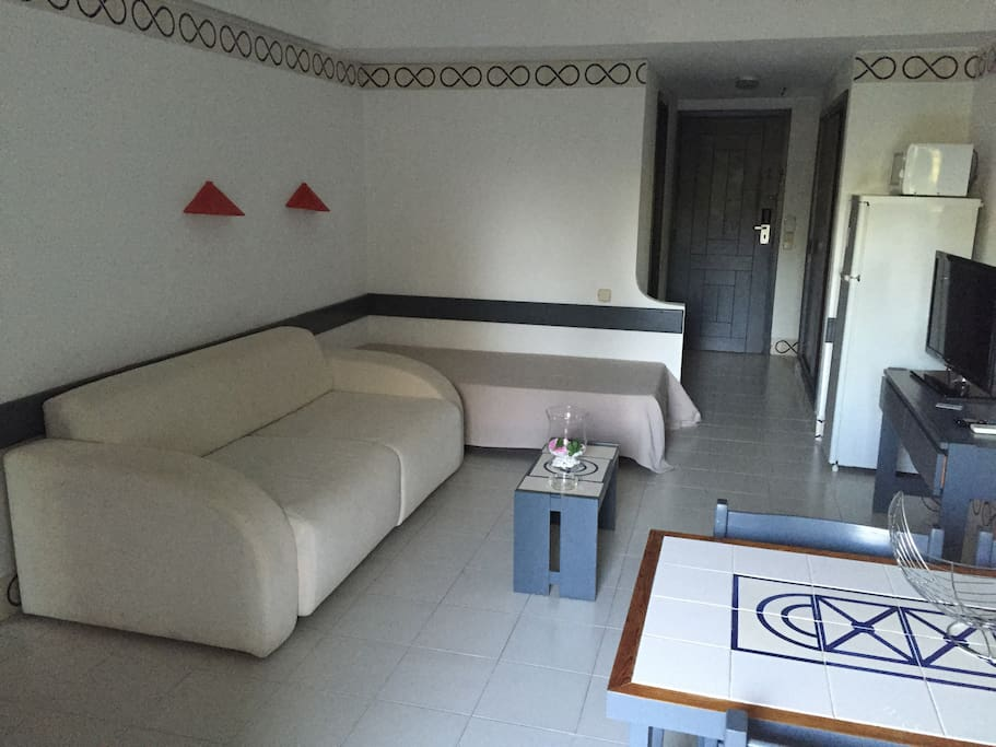 livingroom with 1 bed, 1 sofa bed, 1 bathroom, air conditionning