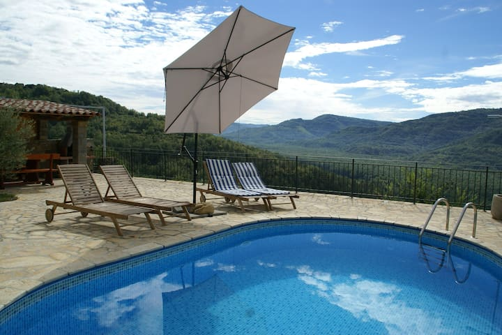 Villa with a private swimming pool near Motovun, with an enchanting view of the beautiful area.