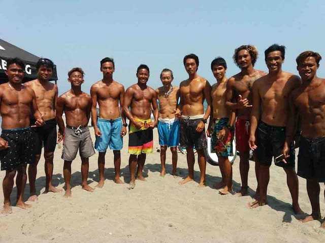 The surf instructors of San Juan Surf School