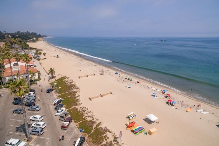 Walk 1 block to East Beach to find volleyball courts, oceanfront dining, as well as The Cabrillo Pavilion Bathhouse.