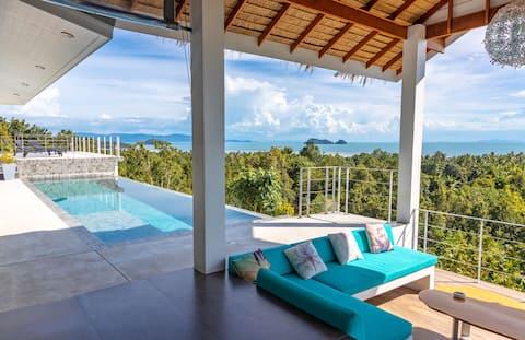 Shades of Blue, Tropical Chic Sea View 4BDR Villa