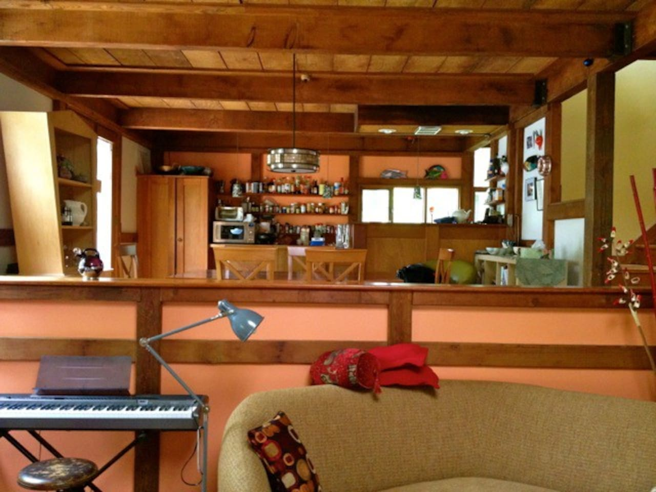 Kitchen, digital piano.