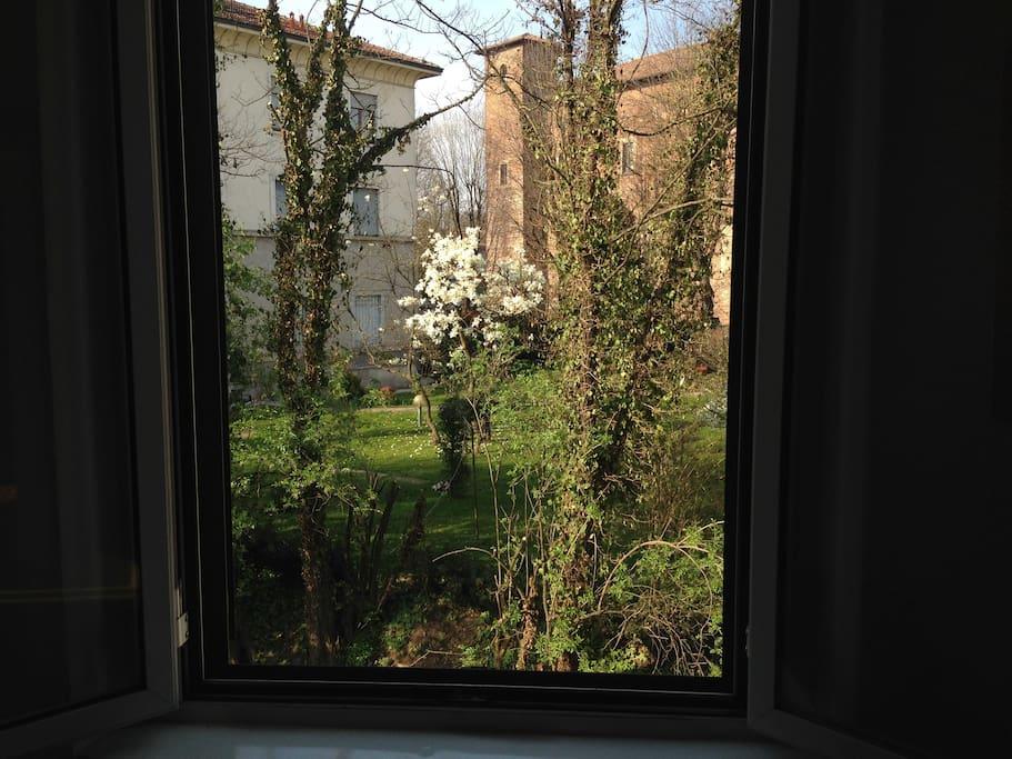 Window with overlooking Renaissance castle