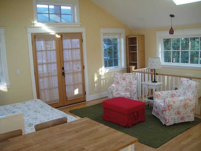 Accent chairs, books, French doors to balcony.