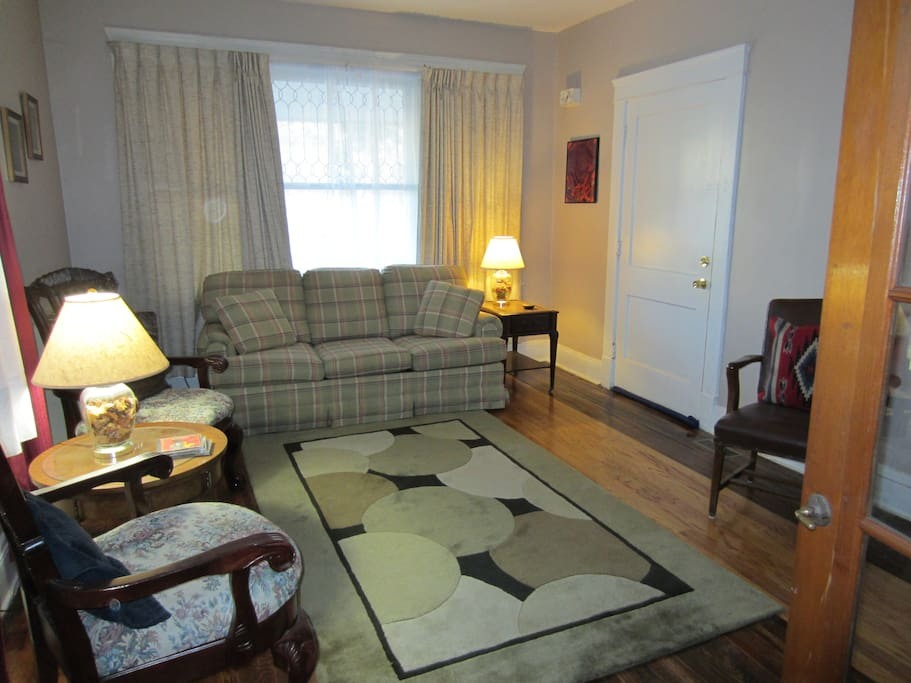 Large living room with pull out couch