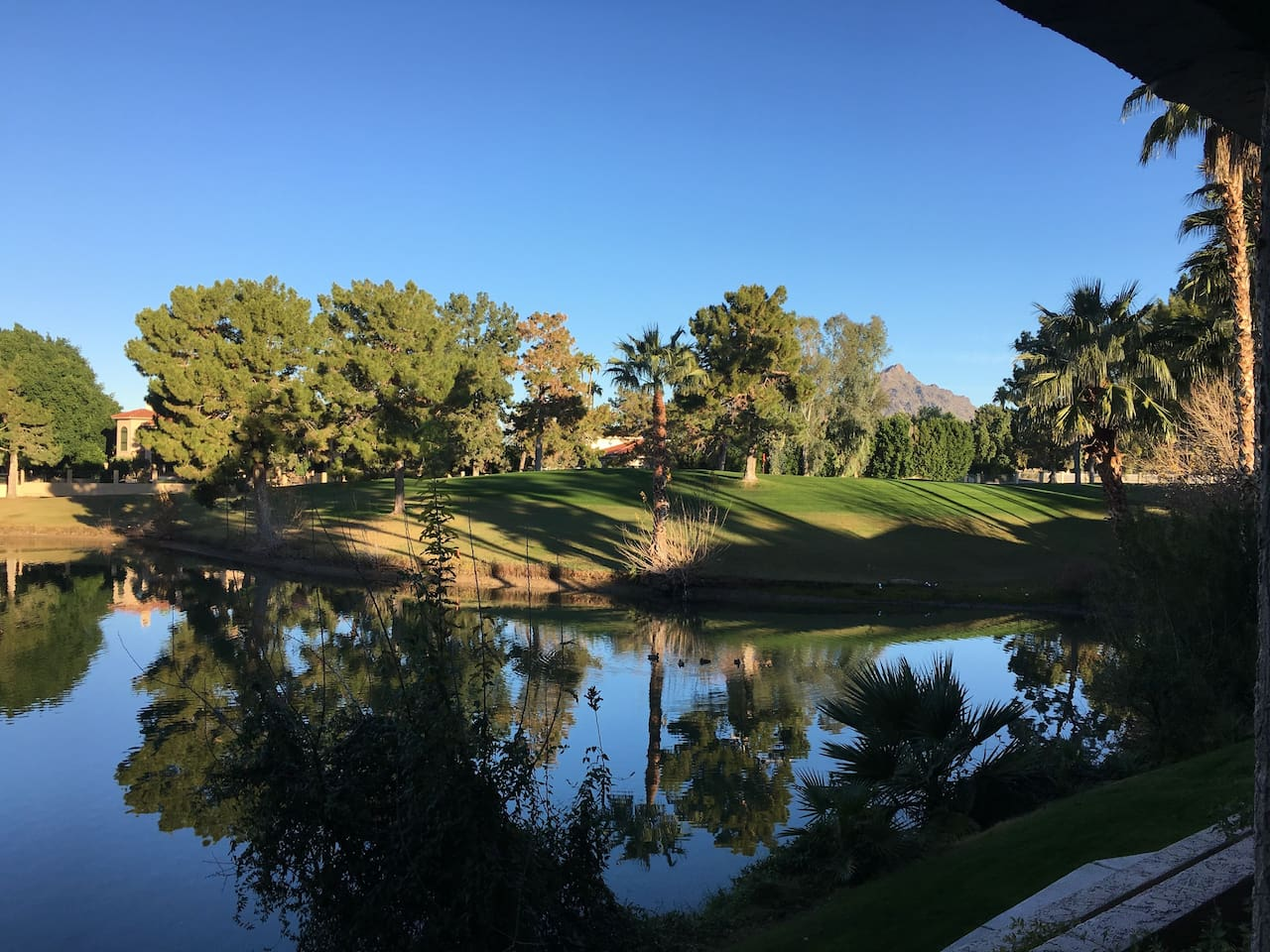 View from patio. Overlooks pond, Biltmore Links Golf Course and Mountains