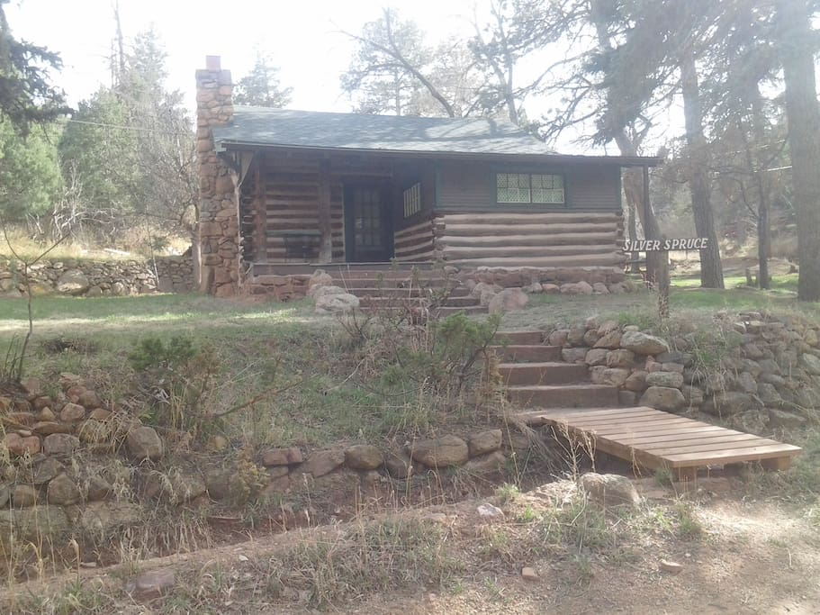 Silver Spruce has a cozy deck with views of the Garden of the Gods and a private yard.