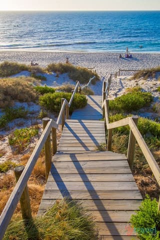 Stairs down to the sand at the end of our street. Gorgeous any time of the day, but early morning is my personal favorite. Image from Pinterest.