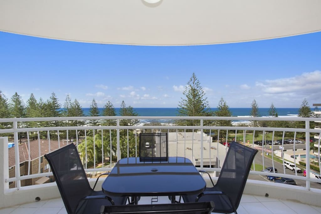 Beautiful view of Burleigh beach from two wrap around balconies