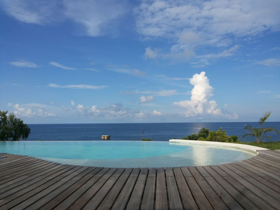 infinity pool deck with view!