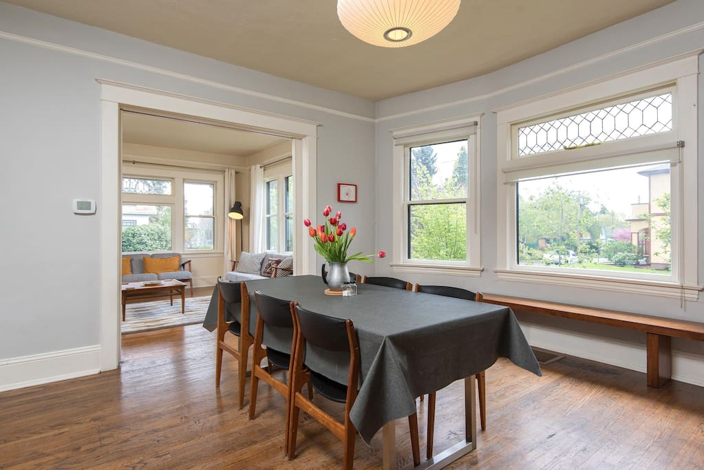 The dining room, perfect for family dinners and added work space.