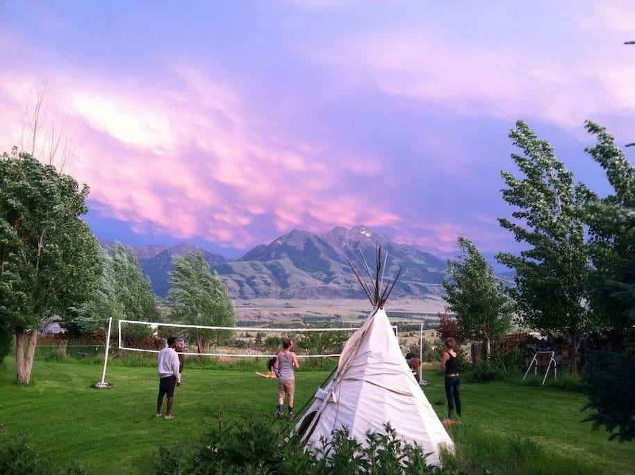 Enjoy a game of Volleyball under the ever-changing skies of Montana!