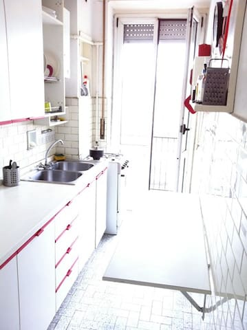 shared kitchen all furnished and with little balcony