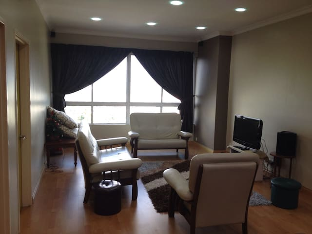 Spacious modern living room with TV, DVD player, surround sound system(home theatre), Chromecast(cast video to tv thru your mobile phone), wifi with unlimited internet quota and comfy sofa set.