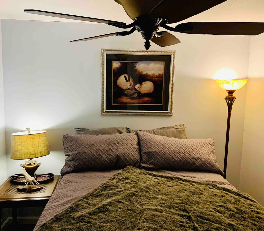 Newly remodeled bedroom. High quality sheets and one of the most comfortable beds you will ever sleep on!