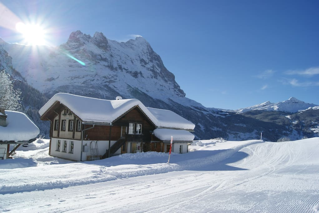 Winter impressions... ski track right besides the house!