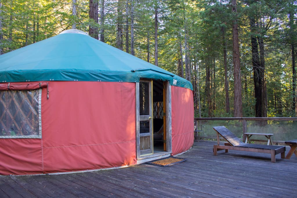 Front door of yurt. Drink your coffee on the front deck and enjoy the fresh air