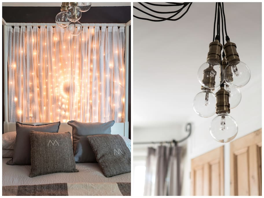 WIth bedside lamps, fairy lights behind the bed and dimming lights overhead you can choose exactly how cosy or bright you want the room to feel.