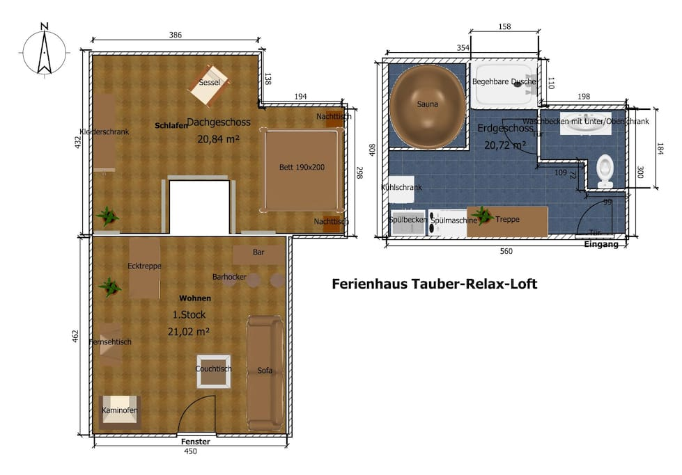 Grundriss des Ferienhauses Tauber Relax Loft