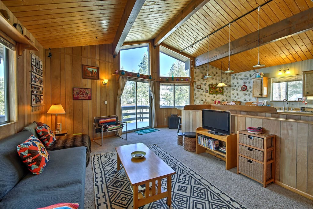 This rustic cabin boasts 1,200 square feet of living space and room for 7 guests!
