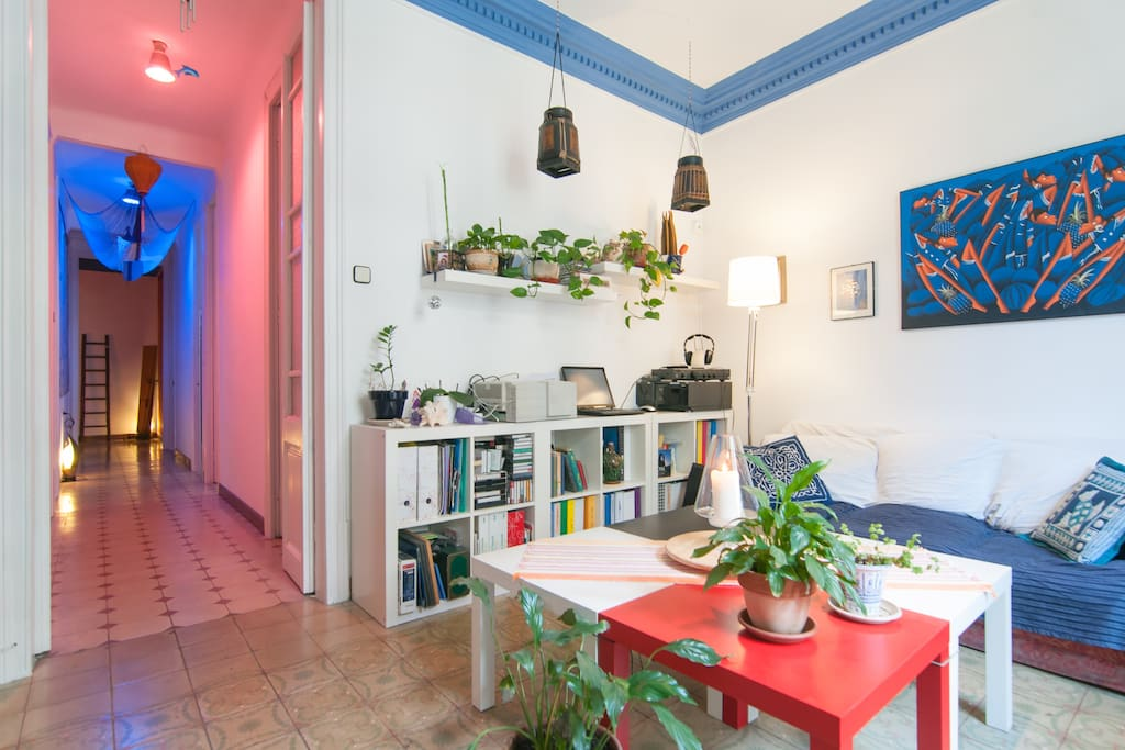 You can see the typical Eixample flat: the long corridor, the high roof with original decoration, the old tiles and the typical doors...