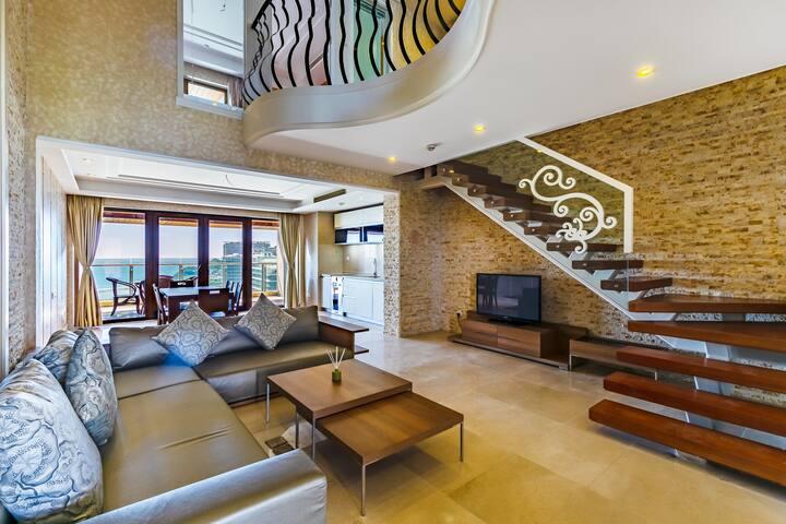 雀鸟民宿-三亚半山半岛奢华海景复式两居/Loft公寓/双面看海