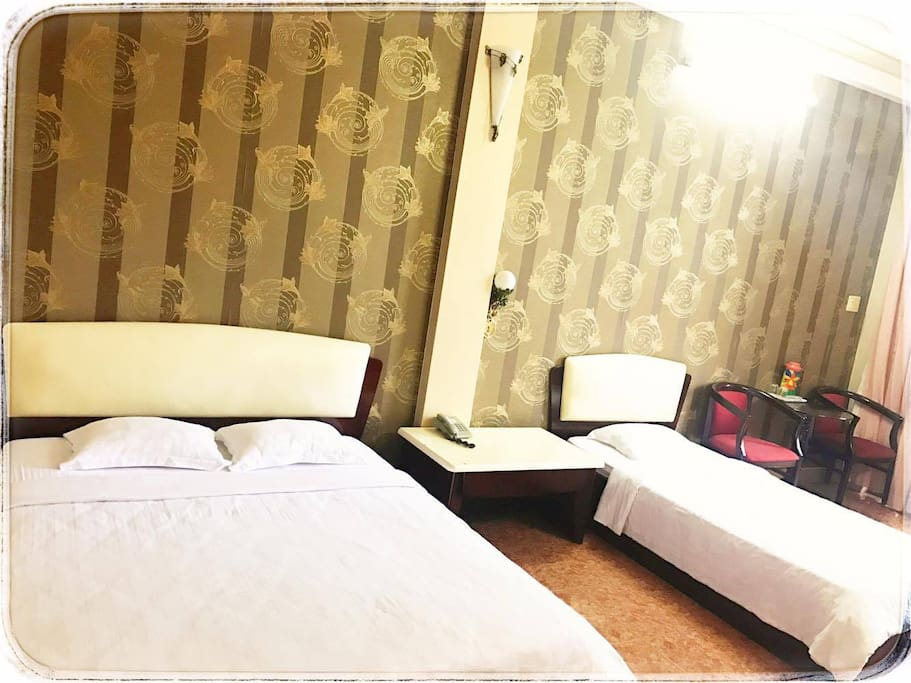 1 double bed and 1 single bed including bathroom inside.