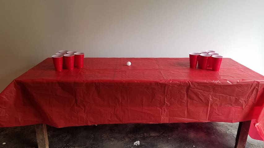 Beer pong in optional game room