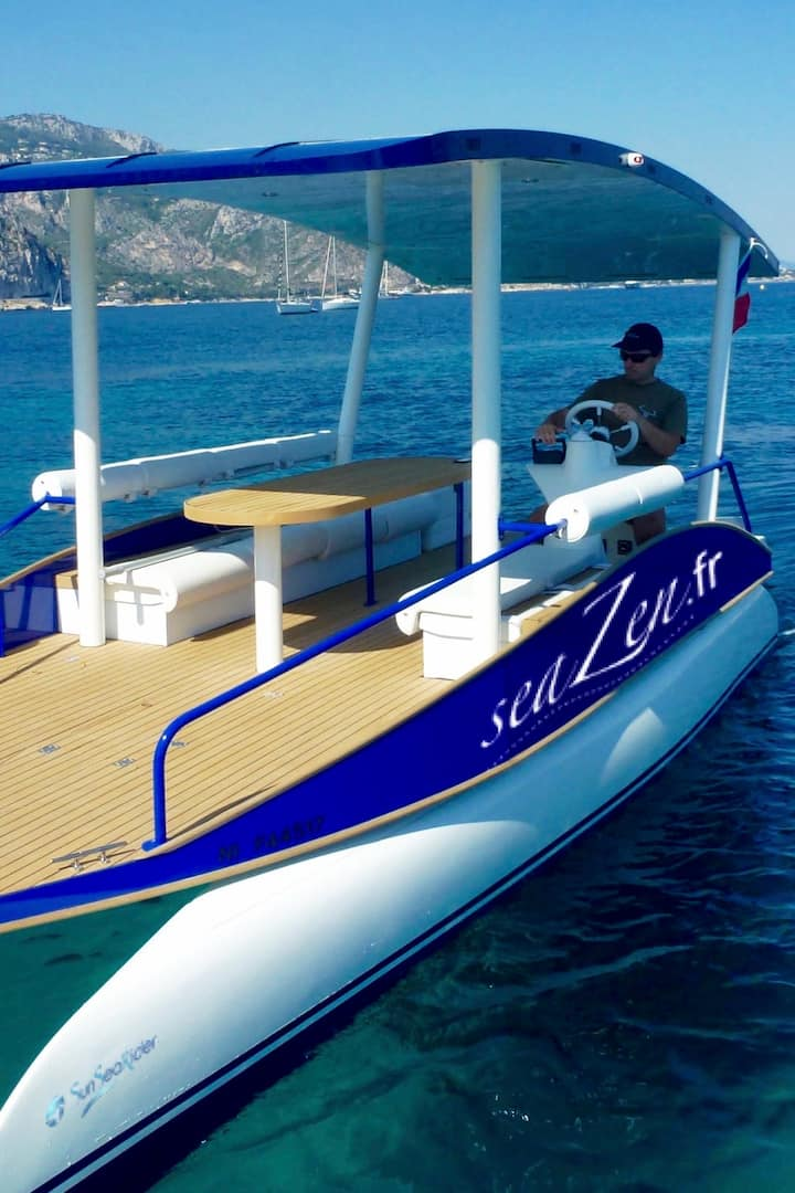 The boat is powered with solar panels