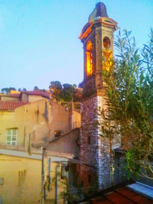 More view of the church tower, waterfall on  Nice's famous Chateau or Castle Hill