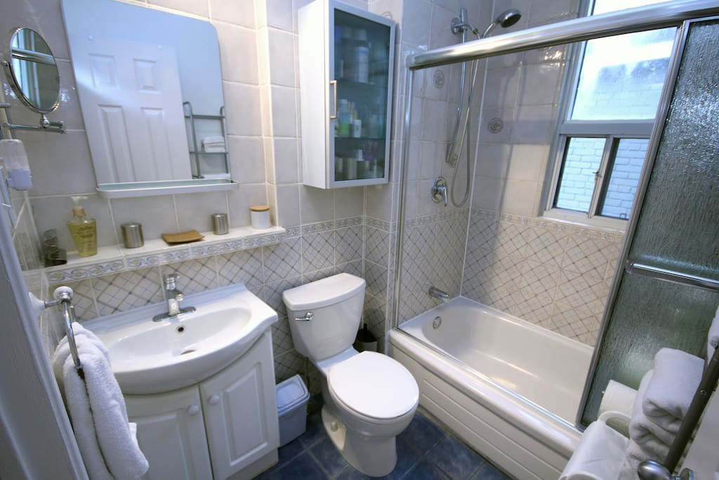Fully equipped  bathroom is stocked and ready for all your needs.